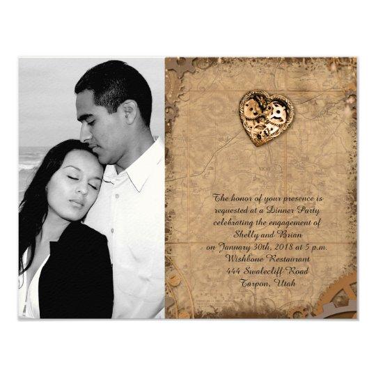 Vintage Steampunk Bride Wedding Engagement Card