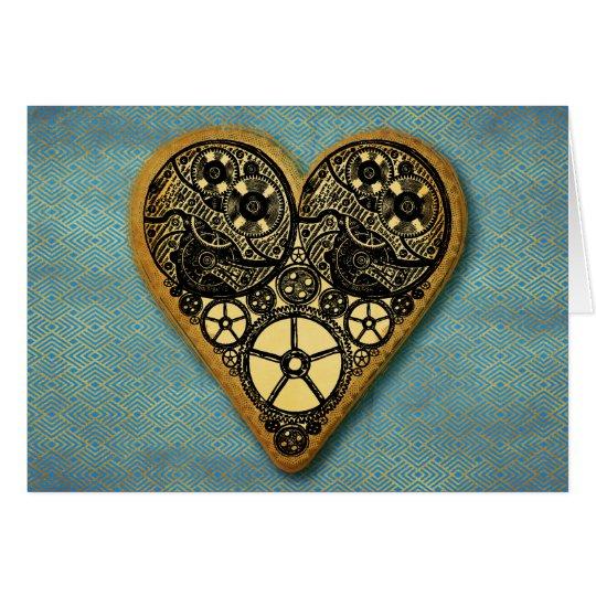 Vintage Steampunk Clock Works & Gears Gold Heart