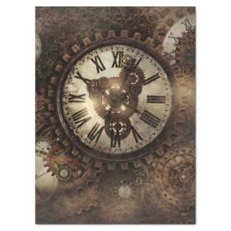 Vintage Steampunk Clocks Tissue Paper