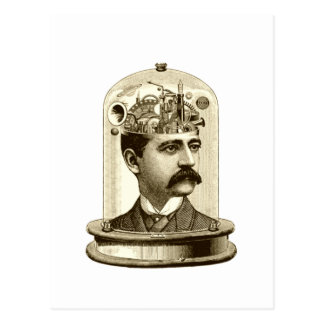 Vintage steampunk clockwork brain, moustache  man postcard