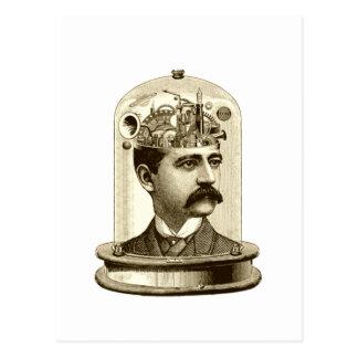 Vintage steampunk clockwork brain, moustache  man postcard
