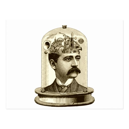 Vintage steampunk clockwork brain, moustache  man post cards
