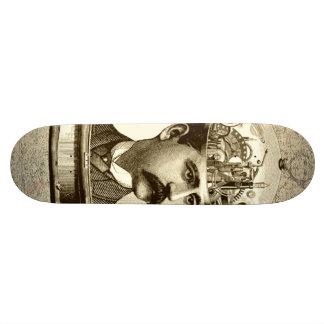 Vintage steampunk clockwork brain, moustache  man skate deck