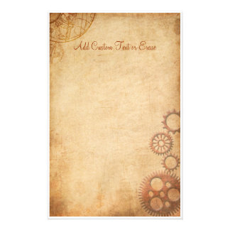 Vintage Steampunk Gears Parchment Stationery Paper
