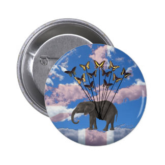 Vintage Steampunk Gifts Elephant and Butterflies 6 Cm Round Badge