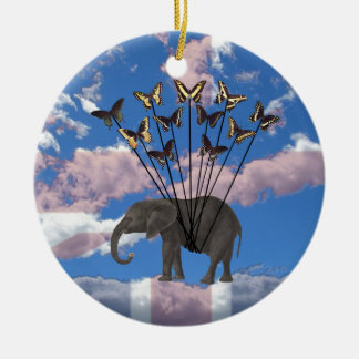Vintage Steampunk Gifts Elephant and Butterflies Christmas Ornament