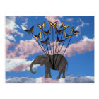 Vintage Steampunk Gifts Elephant and Butterflies Postcard