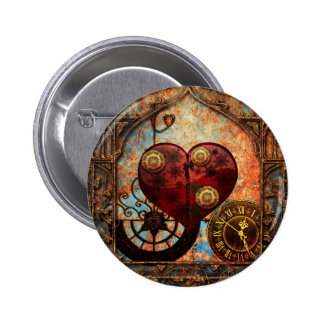 Vintage Steampunk Hearts Wallpaper 6 Cm Round Badge