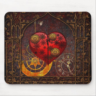 Vintage Steampunk Hearts Wallpaper Mouse Pad