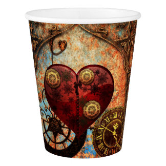 Vintage Steampunk Hearts Wallpaper Paper Cup