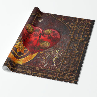 Vintage Steampunk Hearts Wallpaper Wrapping Paper