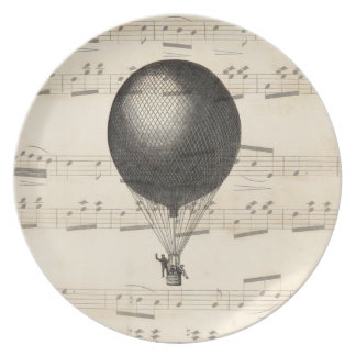 Vintage Steampunk Hot Air Balloon Airship Plate