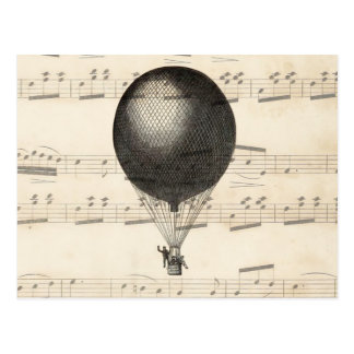 Vintage Steampunk Hot Air Balloon Airship Postcard