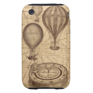 vintage steampunk hot air balloons and compass tough iPhone 3 covers