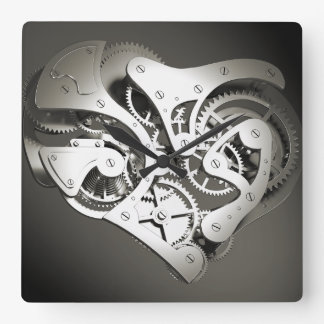 Vintage Steampunk Mechanical Heart - B&W Wall Clocks