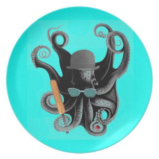 vintage steampunk octopus cricketer plate