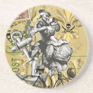 Vintage steampunk pirate coasters