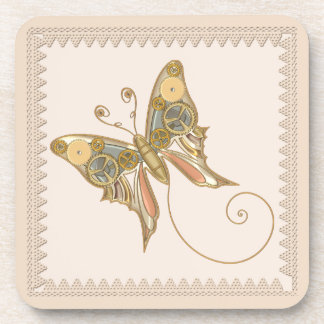 Vintage Steampunk Style Mechanical Butterfly Coaster