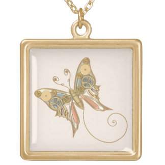 Vintage Steampunk Style Mechanical Butterfly Gold Plated Necklace