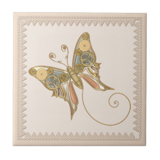 Vintage Steampunk Style Mechanical Butterfly Tile
