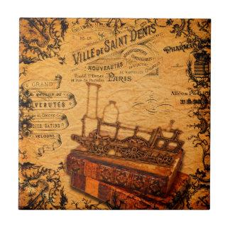 Vintage Steampunk Train Wallpaper Tile