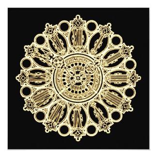 Vintage Steampunk Victorian Fancy Clock face 13 Cm X 13 Cm Square Invitation Card