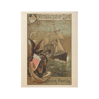 Vintage Steamship Menu Poster Wood Poster