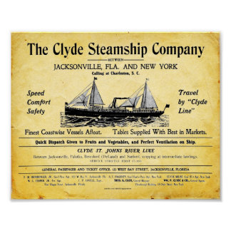 Vintage Steamship Print - Clyde Steamship Company