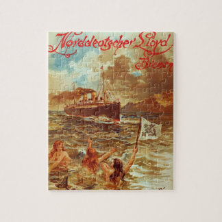 Vintage Steamship with Mermaids Jigsaw Puzzle