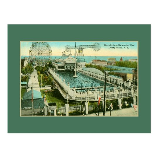 Vintage Steeplechase Swimming pool Coney Island NY Postcard