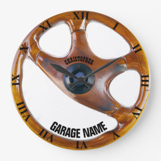 Vintage Steering Wheel Garage Owner Clock