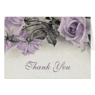 Vintage Sterling Silver Rose Wedding Thank You Note Card