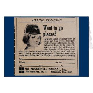 Vintage Stewardess Advertisement Card