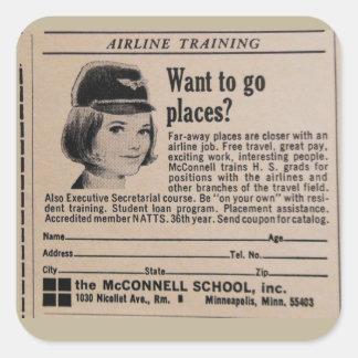 Vintage Stewardess Airline Career Stickers
