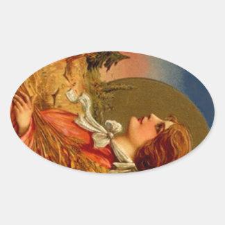 Vintage Sticker Colonial Bonnet Girl Grain Harvest