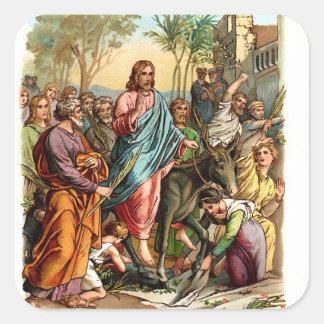 Vintage Sticker-Jesus Enters Jerusalem Square Sticker