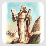 Vintage  Sticker-Moses and the Ten Commandments Square Stickers