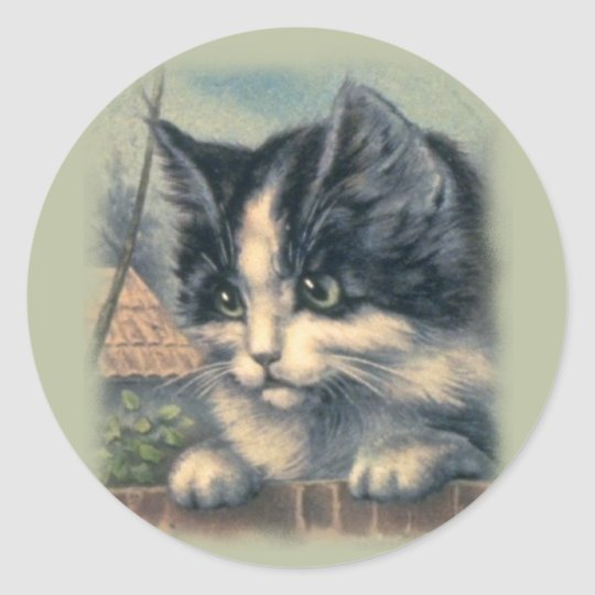 Vintage Stickers, Cats Classic Round Sticker