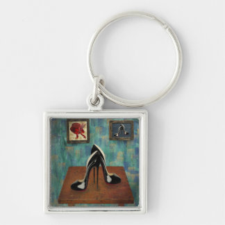 Vintage Stiletto Painting - Digital Art Silver-Colored Square Key Ring