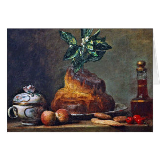 Vintage Still Life with Brioche by Chardin Greeting Card