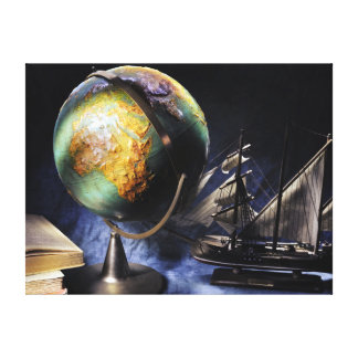 Vintage still life with globe canvas print