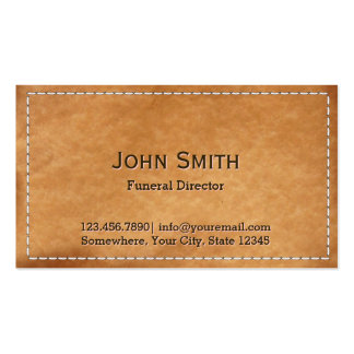 Vintage Stitched Leather Funeral Business Card Template