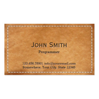Vintage Stitched Leather Programmer Pack Of Standard Business Cards