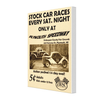Vintage Stock Car Races Poster on Canvas Canvas Print