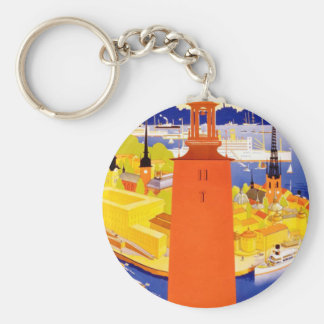 Vintage Stockholm Sweden Basic Round Button Key Ring