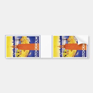 Vintage Stockholm Sweden Bumper Sticker