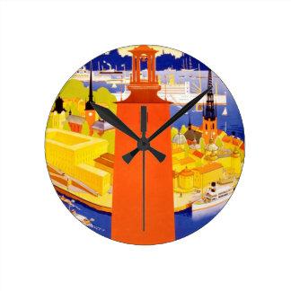 Vintage Stockholm Sweden Round Clock