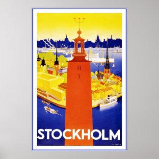 Vintage Stockholm Travel Poster Print