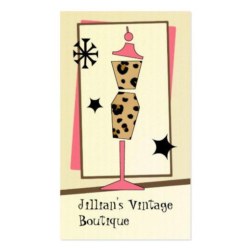 Vintage Store / Boutique - Leopard Pink Dress Form Business Card Templates