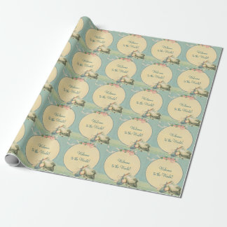 Vintage Stork Baby Boy Blanket, Welcome to World Wrapping Paper